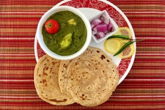 Virtual Aloo Palak and Lachha Paratha (bread)