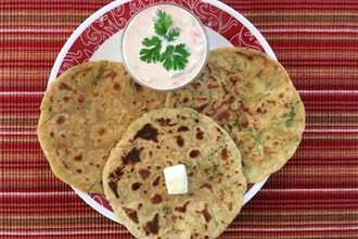 Virtual Paneer Paratha (bread) and Cucumber Raita (dip)