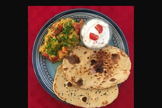 Virtual Bell Pepper Masala Curry and Naan (bread)