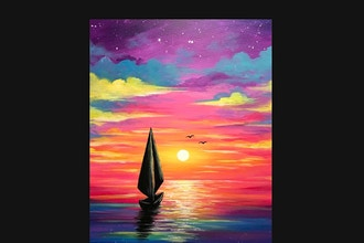 Virtual Paint Nite: Bright Sunset Sails