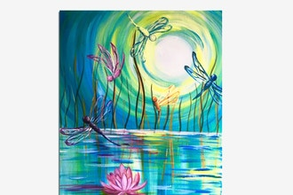 Paint Nite: Dragonflies And A Lotus Flower
