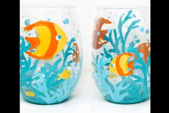Paint Nite: Fish Aquarium Stemless Wine Glasses Ages 6+