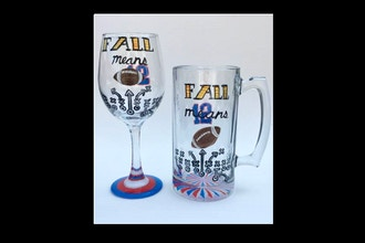 Paint Nite: Customized Football Team Stein & Wine Glass