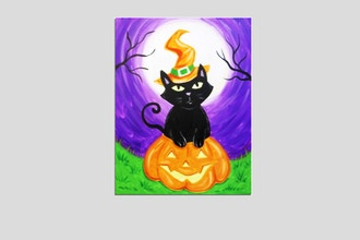 Paint Nite: Kitty Witch In A Pumpkin