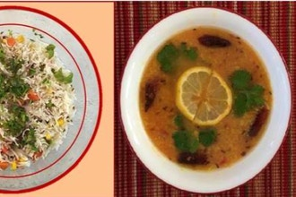 Virtual Microwave Pulao and Tadka Dal (Mung Beans)