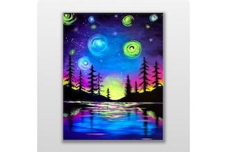 Paint Nite: Starry Lake Sunset Black Light