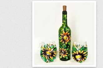 Paint Nite: Sunflowers Wine Bottle or Wine Glasses