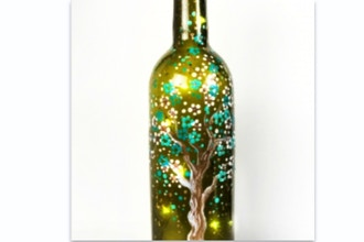 Paint Nite: Teal & Gold Tree Bottle w/ Fairy Lights