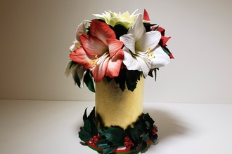 Sugar flowers. Amaryllis, Poinsettia and Holly leaves
