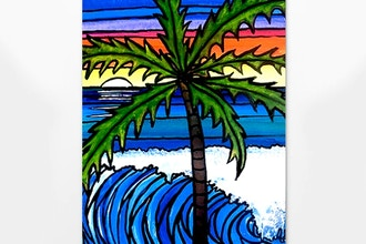 Stained Glass Style Beach Art
