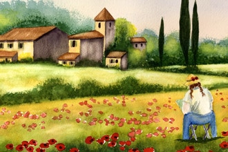 Virtual Paint a Poppy Field in Tuscany with Watercolors