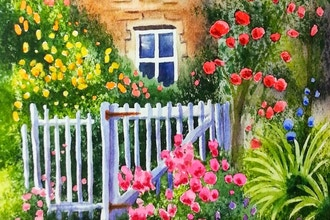 Virtual Watercolor Landscapes - Paint a Rose Garden