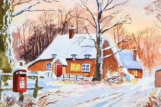 Virtual Winter Wonderland Landscape in Watercolors