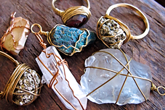 Wire Wrapped Rings and Pendants