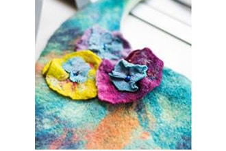 Wet Felted Flower Pin