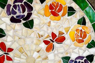 Georgia O'Keeffe Flowers in Glass Mosaics