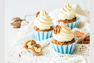 Vegan and Gluten-Free Carrot Cake Cupcakes (Virtual)