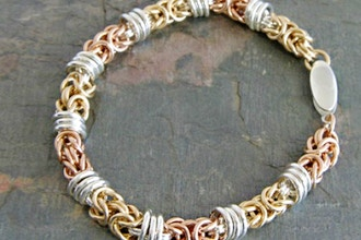 Byzantine Chain Maille with Orbital Rings Bracelet