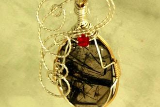 Designer wire wrapped cabochon pendant jewelry classes chicago designer wire wrapped cabochon pendant aloadofball Choice Image