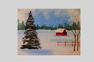 BYOB Painting: Red House in Snow (Astoria)