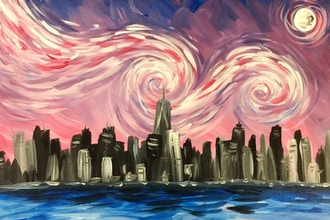 Byob Painting Starry Night Over Nyc Uws Byob Painting Classes New York Coursehorse The Paint Place