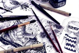 Brush Pen Illustration (Grades 6-12) - Online Camp