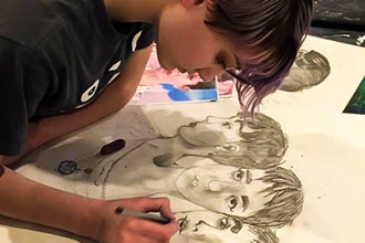 Adult Focus on Drawing
