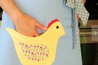 Intro to applique vintage style chicken pocket apron sewing