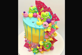 Bryson Perkins Neon Drip Cake Cake Decorating Classes New York