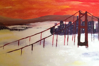 Create your work of art san francisco fog byob painting for Paint n pour
