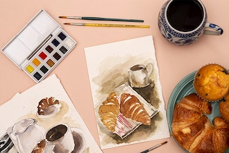 Watercolor: Croissant and Coffee