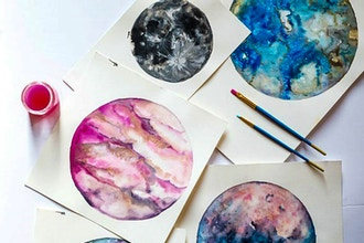 Watercolor Moons & Planets