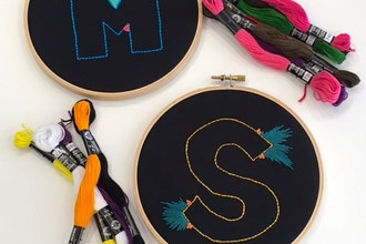 Negative Space Embroidered Initials