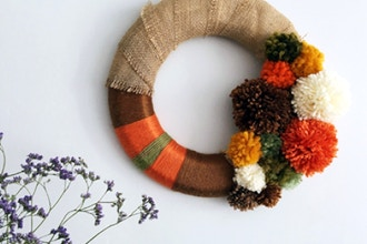 Fall Pom Pom Wreath at Jackalope Art Fair