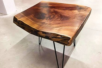 Live Edge Side Table with Bowties & Colored Epoxy