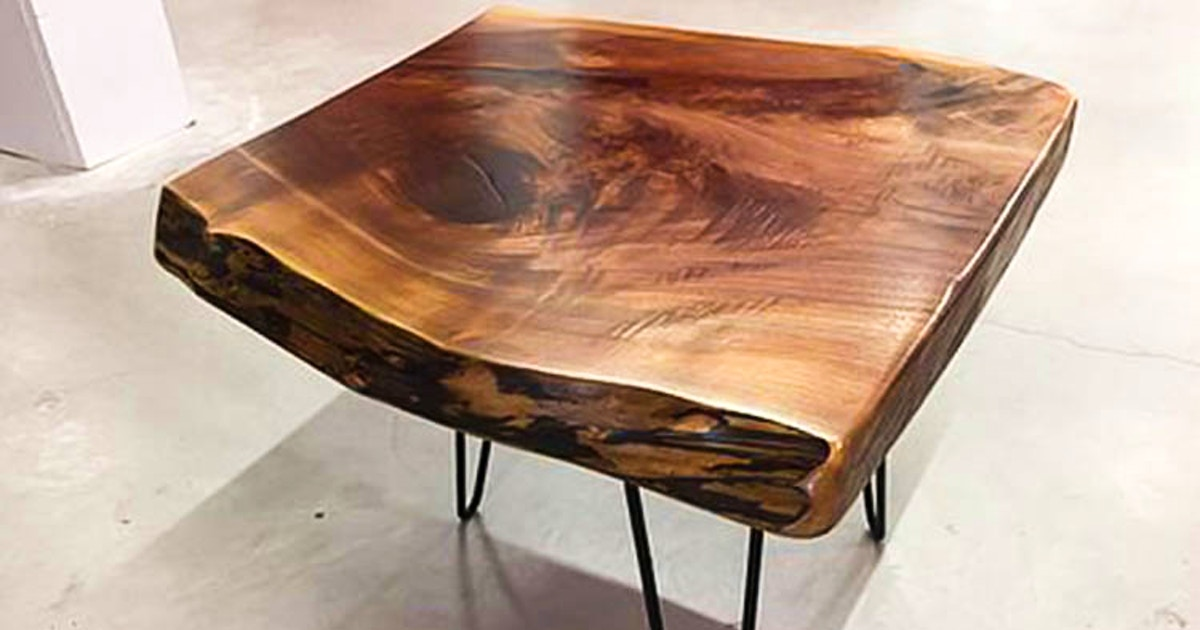 Live Edge Side Table With Bowties Colored Epoxy Woodworking Classes New York Coursehorse The Diy Joint
