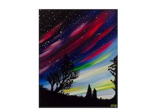 Virtual Paint & Sip: Aurora Borealis
