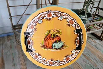 Thanksgiving Serving Tray with Metal Handles