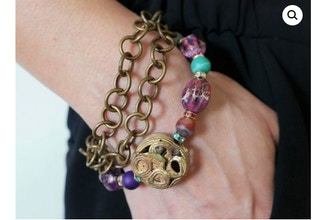 Jewel Tones & Chain Bracelet