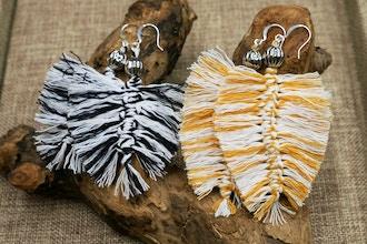 Feather Macrame Earrings