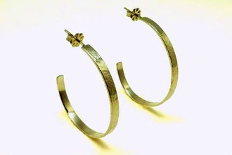 Sterling Silver Hammered Half-Hoop Earrings