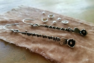 Water Lilies - Water Cast Silver Earrings
