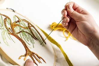 Hand Embroidery: Flower + Leafy Garlands