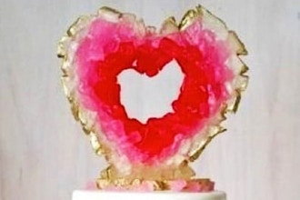 Let's be Valentines Geode Cake Topper