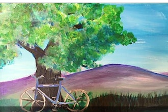 Acrylic Painting: Bike by the Lake