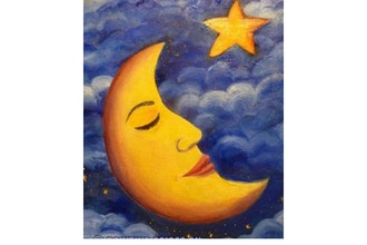 Online Acrylic Painting: Sleepy Moon