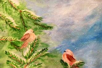 Acrylic Painting: Snow Birds