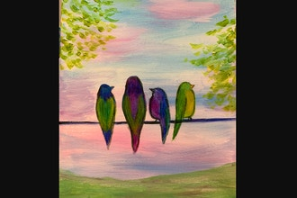Online Acrylic Painting: Birds on a Wire