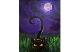 Online Acrylic Painting: Black Cat