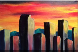 Acrylic Painting: Denver at Dusk